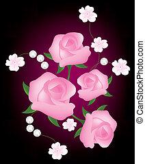 Trasfondo abstracto del vector con rosas rosas