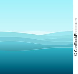Trasfondo abstracto marino de olas azules. Vector