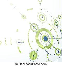 Trasfondo abstracto Vector Bauhaus hecho con cuadrícula y superposición simples elementos geométricos, círculos. Artefacto 3d, diseño tecnológico, plantilla gráfica verde para póster publicitario.