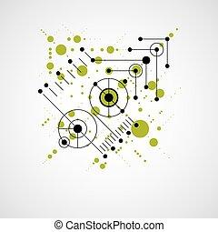 Trasfondo abstracto Vector Bauhaus hecho con cuadrícula y superposición simples elementos geométricos, círculos y líneas. Artefacto de estilo retro, plantilla gráfica para el poster de publicidad.