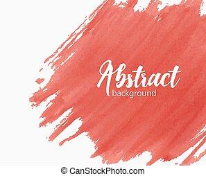 Trasfondo acuarela pintado a mano con pintura, mancha, mancha o mancha de color rojo vívido. Telón de fondo artístico creativo. Ilustración de vectores de color brillante.