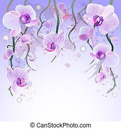 Trasfondo acuarela Vector con orquídeas
