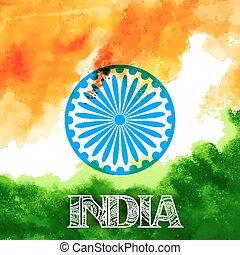 Trasfondo acuarelado tricolor de bandera india