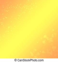 Trasfondo amarillo-orange con un bokeh y estrellas para el diseño
