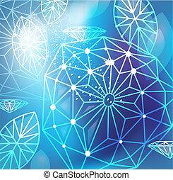 Trasfondo azul abstracto con corte lineal de diamantes