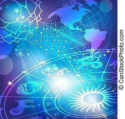 Trasfondo azul con horóscopo