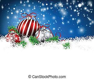Trasfondo azul de invierno con bolas de Navidad.