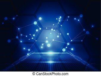 Trasfondo azul de tecnología abstracta. Ilustración de vectores.