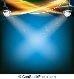 Trasfondo azul retro con focos, líneas de color transparente. Ilustración de vectores