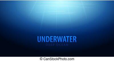 Trasfondo bajo el agua con rayos de sol. Océano profundo. Ilustración de vectores de color.