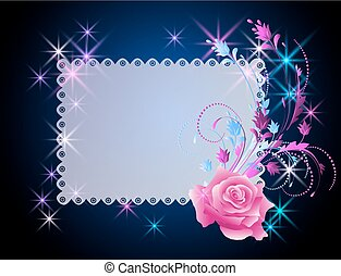 Trasfondo brillante con espacio para textos y adornos de flores