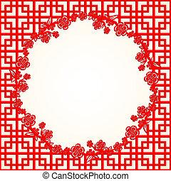Trasfondo chino de flor de cerezo en el año nuevo