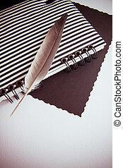 Trasfondo con plumas y cuaderno
