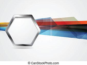 Trasfondo de alta tecnología con forma de hexágono metálico