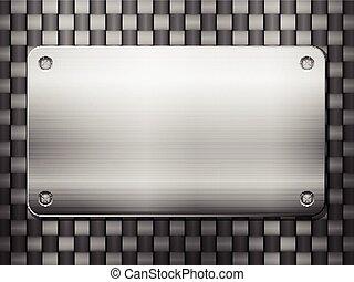 Trasfondo de carbono y placa de metal