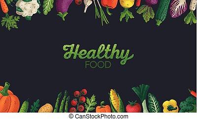Trasfondo de comida saludable horizontal. Copia espacio. Variedad de vegetales decorativos con textura de grano en fondo oscuro. Mercado de agricultores, afiche de comida orgánica, cubierta o diseño de pancartas. Vector.