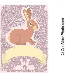 Trasfondo de conejo. Imagen gráfica del vector con pergamino por texto