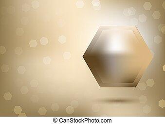Trasfondo de hexágono metal, oro