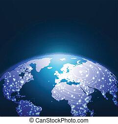Trasfondo de la red de tecnología mundial, ilustración vectorial