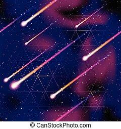 Trasfondo de lluvia de meteoritos
