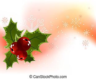 Trasfondo de luz navideña con bayas de acebo y copos de nieve
