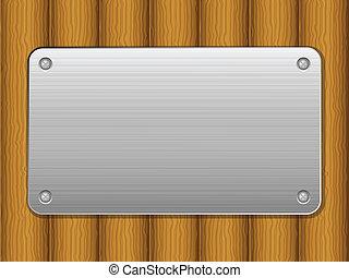 Trasfondo de madera y placa de metal