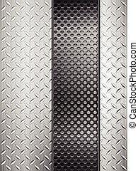 Trasfondo de metal de diamantes y cuadrícula vertical