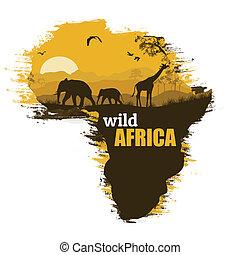 Trasfondo de póster de África salvaje, ilustración vectorial