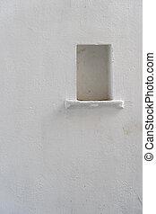 Trasfondo de pared blanca con un nicho en udaipur, Rajasthan, India. Cierra, copia espacio