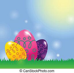 Trasfondo de Pascua con huevos de Pascua