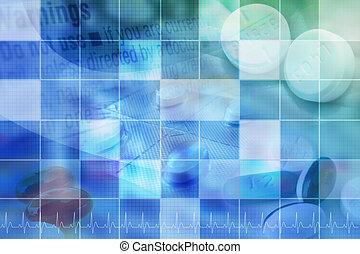Trasfondo de pastillas farmacéuticas azules con cuadrícula