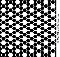 Trasfondo de textura hexagonal sin costura. Patrón blanco y negro.
