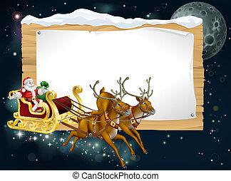 Trasfondo de trineo de Santa Navidad