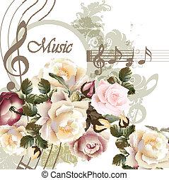 Trasfondo de vector musical con rosas