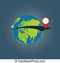 Trasfondo de viajes mundiales, viaje por todo el mundo ilustración de vectores