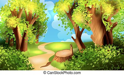 Trasfondo del bosque de dibujos animados