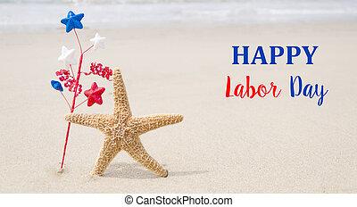 Trasfondo del Día del Trabajo con estrellas de mar