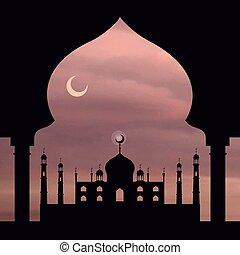 Trasfondo del Islam. Mosque, Arch. Cielo de rosas