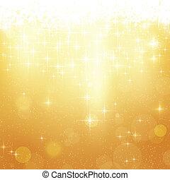 Trasfondo dorado de Navidad con estrellas y luces
