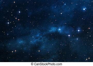 Trasfondo espacial azul de nebulosas