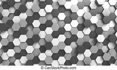 Trasfondo hexagonal y negro abstracto, versión 3D