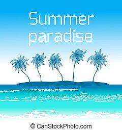 Trasfondo junto al mar con palmas y cielo azul