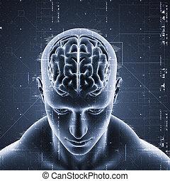 Trasfondo médico 3D con diseño tecnológico en figura masculina con el cerebro resaltado
