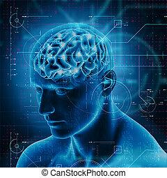Trasfondo médico 3D con diseño tecnológico sobre figura masculina con el cerebro resaltado