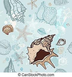Trasfondo marino. Ilustración de vectores a mano