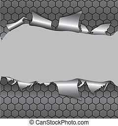 Trasfondo metálico Hexagon bajo agujero
