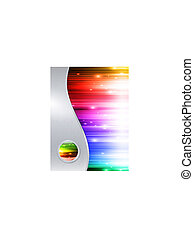 Trasfondo multicolor en marco de metal con botón brillante