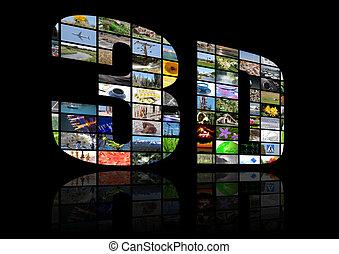Trasfondo multimedia de televisión 3D