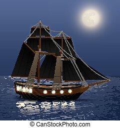 Trasfondo nocturno de mar