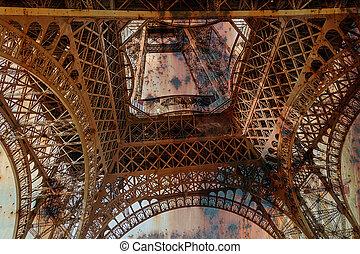 Trasfondo oxidado con Torre Eiffel 2